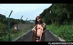 Asian public nudity with hot chick in fishnets flashing