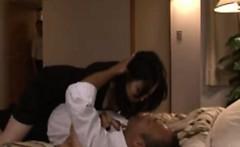 Kinky Japanese milf goes down on husband