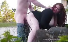 Plump amateur redhead eats his cock outdoors then gets a creampie