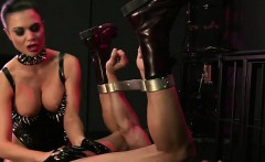 Muscled slave ass fucked with toy by Mistress Jasmine