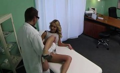 Blonde with hot legs fucked by doctor in fake hospital