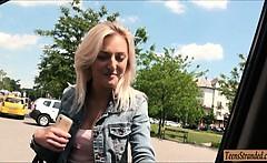 Real amateur Czech slut Katy Rose pussy fucked in public