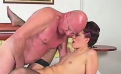 Bald grandpa fucks juicy pussy