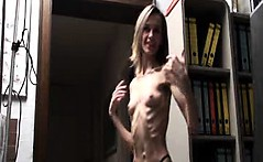 Skinny babe with anorexia shows off her bizarre tiny frame