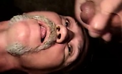 An old redneck gets a dirty beard full of sticky spunk