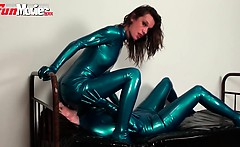 Two sexy amateur lesbian latex lovers fucking