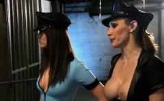 Two hot and sexy babes foursome in the jailcell