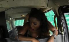 Ebony interracial POV fucking in fake taxi