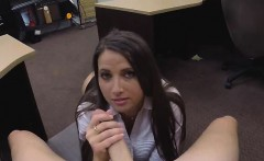 Well Dressed Brunette Sucking Dick In Backroom Of Pawn Shop