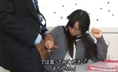Japanese schoolgirl sucking cock