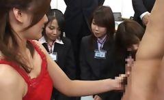 Asian teen working dick in public