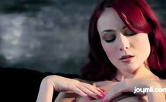 Zoe Voss is a yummy redhead with flat tits who makes love with a bald dude