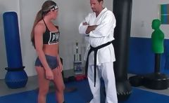 Karate girl is practice with trainer