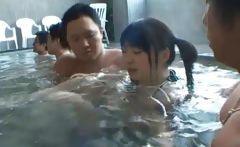 Asian babe is hot and bathing in the spa