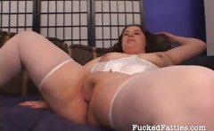 Sexy fat girl enjoys fucking two cocks