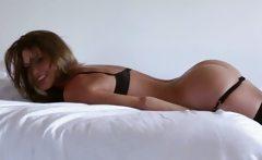Superb big juggs hottie Amber Sym in stockings teasing on
