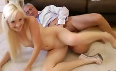 Teen blonde sucks cock after fucking with this lucky old guy