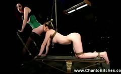 Bounded slave eats mistress ass