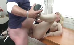 Hot and horny mature blonde gets pussy