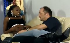 Delicious black teen girl gets on top and fucks her white