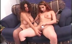 Horny BBW lesbo dildo fucking her GF's pussy