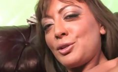 Busty brunette mom goes for the big black cock while son watches