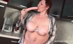 BBW mature babe teasing her big tits and lusty cunt