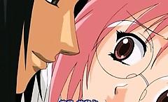 Pretty anime nurse rubbing her clit