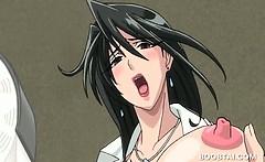 Bossy hentai bitch nailing her slurping cunt in public
