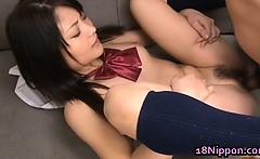 Kanna Harumi Asian schoolgirl shows off